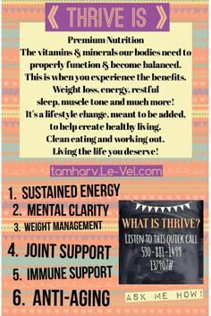 THRIVE by Le-Vel is living the life you deserve with all of the vitamins & minerals your body needs giving you sustained energy, mental clarity, weight management, inflammation support, joint support, digestive & immune support, anti-aging & antioxidant blend... Not only is it FREE to join but you can also get your own Thrive for FREE just by referring only two customers! http://trailrunner1.le-vel.com/