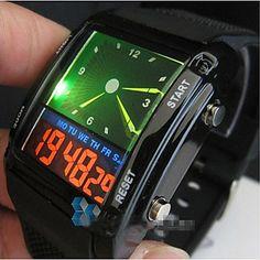colorido levou banda de silicone preta multi-função relógio digital de pulso dos homens – BRL R$ 31,00