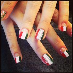 Italian flag w. Bling!! These made nail pro magazine :))