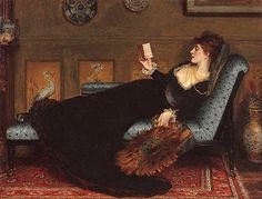 'La liseuse' ('The Reader') (c. 1877) by Robert James Gordon. Oil on canvas. 71.5 x 91.8 cm (28.14 x 36.14 in). Location: The Art Gallery of New South Wales (Art Gallery NSW), Sydney, Australia. // Found by @RandomMagicTour (https://twitter.com/randommagictour) - Sasha Soren - Book trailer: http://www.youtube.com/watch?v=ImIzIx4IeQQ - Browse (Kindle/print): http://www.amazon.com/Random-Magic-Sasha-Soren/dp/0979777410/ref=sr_1_1?ie=UTF8&qid=1328315192&sr=8-1