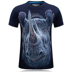 Mens rinoceronte 3D Animal de impresión más el tamaño S-4XL manera ocasional de las camisetas del verano de manga corta camiseta en Banggood
