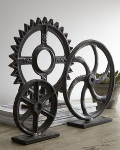 Antique industrial farming gears; perfect for a rustic themed man cave.