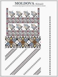 blouse from north-east Romania Folk Embroidery, Embroidery Patterns, Cross Stitch Patterns, Ethnic Patterns, Beading Patterns, Palestinian Embroidery, Moldova, New Hobbies, Cross Stitching