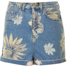 TOPSHOP MOTO Mix Floral Mom Shorts ($64) ❤ liked on Polyvore featuring shorts, bottoms, pants, short, mid stone, flower print shorts, high-rise shorts, short shorts, highwaist shorts and high-waisted shorts