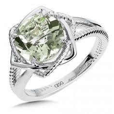 We love this sparkler! Sterling Silver Green Amethyst Ring