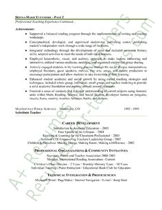 Elementary Teacher Resume Examples 1000 images about teacher resume examples on pinterest teaching cover letter template and cover letter sample Elementary Teacher Resume Sample Page 2