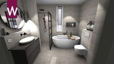 Complete pure badkamer, met bad en inloopdouche Toilet, Bathtub, Bathroom, Room Ideas, House, Standing Bath, Washroom, Flush Toilet, Bathtubs