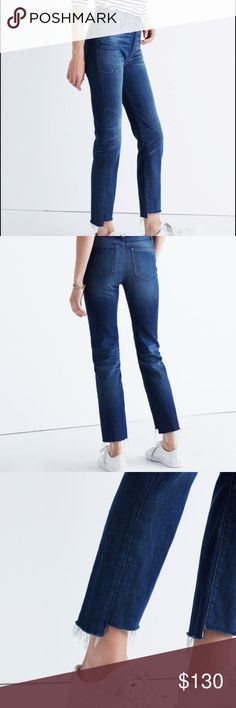 Madewell Perfect Vintage Jean Step-Hem Edition NEW WITH TAGS!! Our Perfect Summer Jean gets a year-round makeover thanks to a slightly longer inseam, a just-right darker wash and, in the case of this pair, a cool hand-cut raw hem that's just a touch longer in back (for that hemmed-it-yourself look). With a '90s-supermodel-inspired high rise that perfectly accentuates the waist, these look like the kind of wear-forever vintage jeans that are far too hard to find. Madewell Jeans