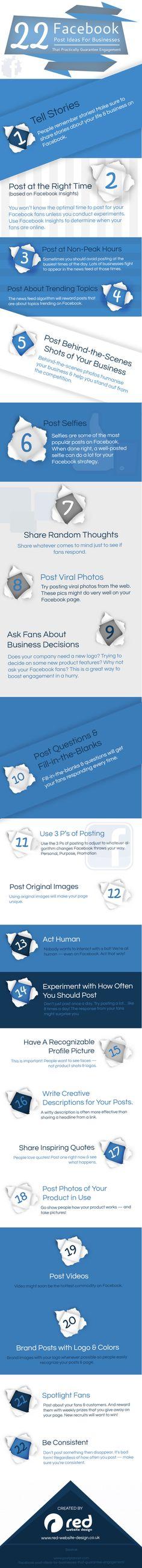 22 ideas de post para el FaceBook de tu empresa #infografia #infographic #socialmedia
