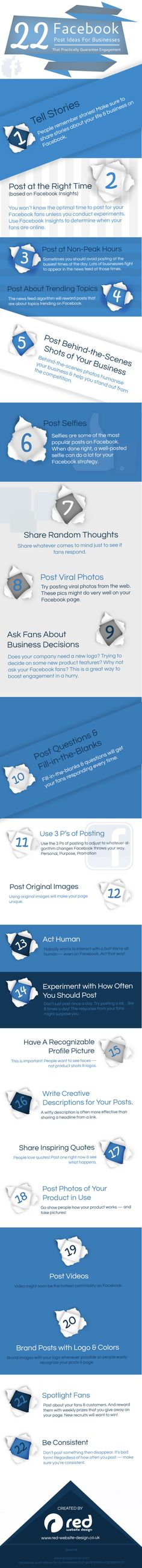 22 Facebook post ideas for businesses #infographic #socialmedia