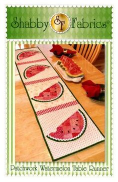 This watermelon-themed runner is perfect for summer! Designed by Jennifer Bosworth of Shabby Fabrics, this design features patchwork - a great way to use up scraps! - and applique. Great to use for a Summertime project. Finished size x Watermelon Quilt, Watermelon Ideas, Single Layer Cakes, Shabby Fabrics, Table Runner Pattern, Tablerunners, Quilted Table Runners, Quilt Patterns, Quilting Ideas