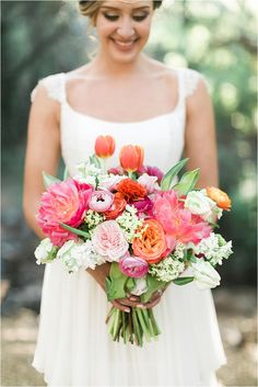 Vibrant Peonies and Roses Bridal Bouquet, Bright Wedding Florals, Spring Florals, Summer Flower Inspiration 2017