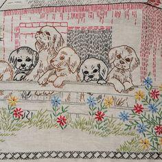 Large Vintage Embroidered Sampler / with by PinkElephantsRetro