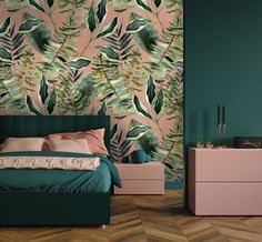 Blush Tropics XL Wallpaper - Avalana Design Watercolor Leaves, Your Space, Pink Color, Palette, Blush, Tropical, Wallpaper, Bed, Interior