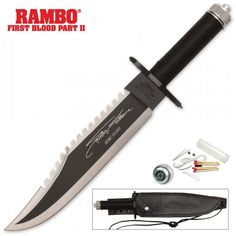 Rambo II Stallone Signature Edition Knife With Survival Kit - From the Rambo movie Rambo: First Blood, Part II, comes this one of a kind, Limited Signature Edition knife. Tactical Swords, Tactical Knives, Tactical Gear, Best Bowie Knife, Rambo Knife, Pocket Knife Brands, First Blood, Combat Knives, Survival Knife