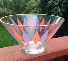Vintage Glass Serving Bowl Orange and Purple by Purl1VintageToo