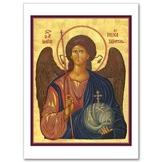 Beautiful Depiction of the Archangel Michael. Catholic Icon Cards are Blank Inside for Your Own Personal Message. printeryhouse.org, #printeryhouse