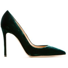 Gianvito Rossi Emerald Green Velvet Pumps ($525) ❤ liked on Polyvore featuring shoes, pumps, heels, pointed toe high heels shoes, pointed-toe pumps, gianvito rossi pumps, pointy toe high heel pumps and spiked heel shoes