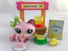 Littlest Pet Shop Cute Mauve/Pink Kitten #1489 w/Lemonade Stand & Accessories #Hasbro