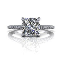 Cushion Cut Engagement Ring SUPERNOVA Colorless Moissanite and Diamonds 1.44 CTW