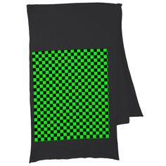 Neon Green & Black Chess Scarf