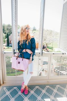 Broadly smiling in aqua shirred off-shoulders shirt, chrome shades, magenta suede loafers w/ blush handbag Chambray Outfit, Loafers Outfit, Southern Fashion, Simply Fashion, Cool Style, My Style, 2 Months, Spring Fashion, What To Wear