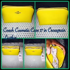 """Coach Cosmetic Case 17 in Crossgrain Leather Delicately textured yet remarkably durable in hand-finished Crossgrain Leather, this compact case keeps cosmetics and other small necessities neatly organized at home or on the road. Richly plated metal hardware accents its simple, securely zippered shape with a subtle flash of shine.                                         Crossgrain leather Inside open multifunction pocket Zip-top closure, fabric lining 6 1/2"""" (L) x 3 3/4"""" (H) x 3 1/4"""" (W) Coach…"""