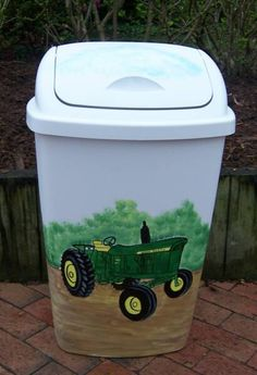 Hand Painted Mailboxes Beach | Hand Painted Tractor Trash Can