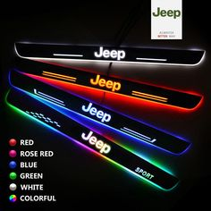 Choose most suitable size LED door sill protector according to the JEEP car model. Different type of JEEP car model have different door sill. White Jeep Wrangler, Jeep Wrangler Interior, Jeep Rubicon, Jeep Wrangler Unlimited, Jeep Jku, Jeep Wrangler Accessories, Jeep Accessories, Jeep Patriot Accessories, Jeep Grand Cherokee Accessories