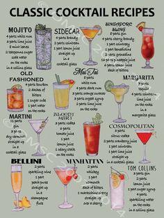 Classic Cocktail Recipes Metal Sign, Mancave, Retro Bar, Pub,Den Decor, Alcohol #OMSC #Alcohol