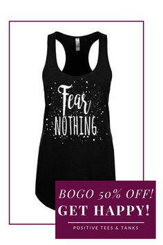 FEAR NOTHING Black Women's Tank Top - Perfect for Yoga, Fitness, or wearing out with Leggings or Layered!! For a limited time ALL TANKS BOGO 50%!  #inspirationalclothing