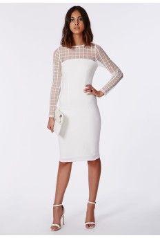 1f325ad4463 Janette Grid Mesh Contrast Shift Dress White White Midi Dress