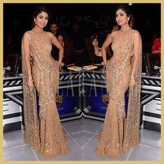 Shilpa Shetty in gold Tarun Tahiliani saree gown, Super Dancers Appearances Indian Clothes, Indian Outfits, Saree Gown, Sari, Aso Ebi Dresses, Indian Princess, Tarun Tahiliani, Shilpa Shetty, Indian Gowns