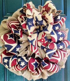 Patriotic Burlap Wreath for the 4th of July!  https://www.facebook.com/signsbytiffany