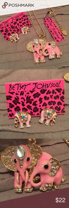 Selling this Betsey Johnson Pink Elephant Earrings and necklace on Poshmark! My username is: ashlenxxx. #shopmycloset #poshmark #fashion #shopping #style #forsale #Betsey Johnson #Jewelry