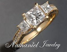 three stone princess cut anniversary ring yellow gold | ... Certified Princess 3-Stone Diamond Engagement Ring Yellow Gold 14k