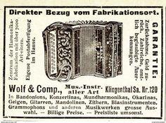 Original-Werbung/ Anzeige 1920 - MUSIKINSTRUMENTE / WOLF & COMP.  - KLINGENTHAL - Ca. 65 X 50 Mm - Werbung