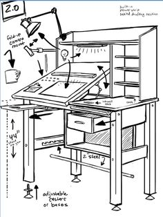 Sheldon® Comic Strip: Daily Webcomic by Dave Kellett's new standing drafting table. See the link for the real deal, it's gorgeous! I'm putting it on the Pugs page because he has a comic character pug named Oso. Art Studio Room, Art Studio Design, Art Studio At Home, Home Art, Bureau D'art, Rangement Art, Art Studio Organization, Art Studio Storage, Art Storage