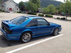 Just barely missed, needs gunmetal rims then would be perfect! Fox Body Mustang, Mustang Cars, Ford Mustang Gt, Blue Mustang, My Dream Car, Dream Cars, Dream Life, Ford 2000, Ford Fox