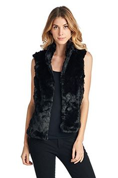 Blue Age Womens Faux Fur VestFV20_BLACK_S -- Check out the image by visiting the link.