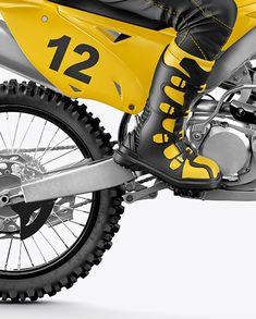 Motocross Racing Kit Mockup in Vehicle Mockups on Yellow Images Object Mockups Motocross Racing, Motorcycle Safety Gear, Bike Boots, Motorbikes, Mockup, Helmet, Layers, Objects, Model
