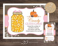 "Instant Download Burlap and Pink Girl Pumpkin Candy Guess Game by Studio20Designs. To set this autumn inspired party game up, download and print the files. Then, place the 8.5""x11"" Candy Guess Game poster beside a jar filled with candy corn. Each guest will write his/her name and guess on the coordinating 2""x3.5"" card. Place a bowl, box or basket nearby where the cards can be placed once guests fill them out. The guest with the closest guess wins!"