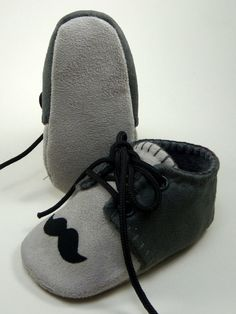 Baby Shoes boy's gray micro suede mustache lace by OnlyLittleOnce