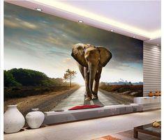 3D Walking Elephant PVC Self adhesive Wallpaper Painting TV Background Mural