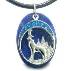 Amazon.com: Howling Wolf and Moon Amulet Good Luck Powers Lapis Lazuli Gemstone Pendant on Leather Cord Necklace: Best Amulets: Jewelry
