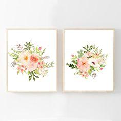 Watercolor Flower Prints  Watercolor Floral Nursery Wall Art