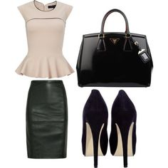 Trendy chic work outfit with peplum top, leather pencil skirt, leather tote and pumps.  (via Business Revamp #1)