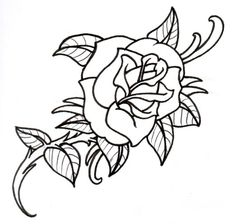hot tattoos for girls outline | Old School Rose Outline by ...