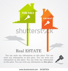 Signboards of homes (sale and rent), vector illustration - stock vector