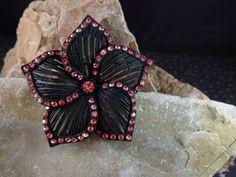 Japanned Black with Pink Rhinestones Star by TwinklingStarVintage